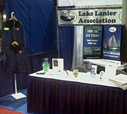 The Lake Lanier Association booth at a local boat show. Recreational lake users also benefit from our efforts.