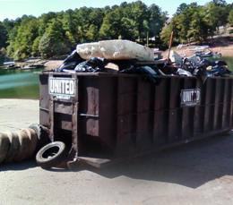 A full dumpster at our annual Shore Sweep event.