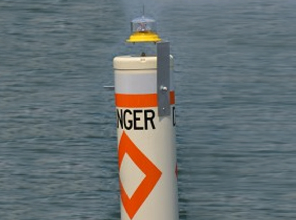 Lights on markers help boaters.